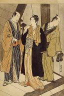 The actors Ichikawa Monnosuke II (left), Iwai Hanshiro IV (center) and Iwai Karumo (?)(right), on a landing backstage