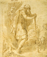 Old Shepherd Leaning on a Staff
