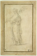 Standing Draped Female Figure Carrying Trumpet, Flowers