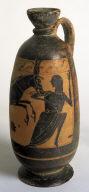 Black-Figured Lekythos with Satyr on Donkey Pursuing a Maenad