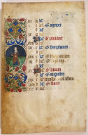 """Kalender"" Page from a Book of Hours (Roundel: Flaying Grain)"