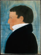 Man with short Hair and white Stock, profile