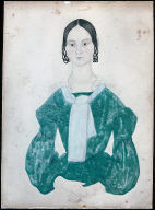 Young Woman with Intertwined Loops of Hair in Green Dress