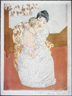 [Maternité (japonisante) with bed in background, mother embracing baby, 1891, Maternal Caress]