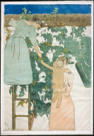 [L'espalier. Woman on a ladder reaching fruit to mother and child, Gathering Fruit]