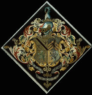 Armorial panel: Represents 4 families -- Saltonstall, Winthrop, Dudley