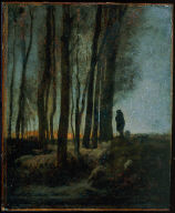 Shepherd and Flock at the Edge of the Forest, Evening