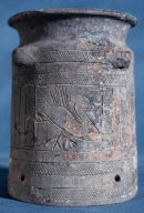 Painted and incised gray-ware vessel