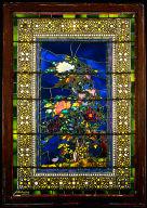 "Window ""Peonies Blown in the Wind"""