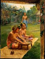 [Girls Preparing Kiva, Girls Preparing Kava, Samoa]