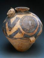 Granary jar with sculpted shaman head
