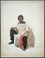 [Young Man in White Apron, Black Youth Wearing Apron]