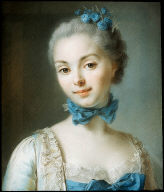 Portrait of a Young Woman Wearing a Blue Ribbon at her Throat