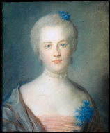 Portrait of a Woman with a Corsage of Blue Flowers