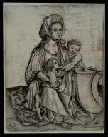 Woman with Two Children and a Blank Shield