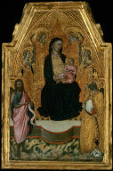 Madonna and Child Enthroned with a Bishop Saint, Saint John the Baptist, and Four Angels