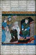 """Suwal Kardan Mobidan Zal-ra"" a miniature from the Demotte Shah-Nama"