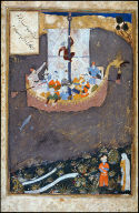 """Page from the """"Shah Namah"""": Consignment of Dara to the Waters of the Euphrates"""