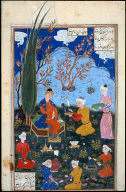 Dara Enthroned Receiving the Crown Brought by his Mother, Humai a leaf from the Shah Namah