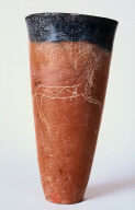 Black-topped jar with incised ram