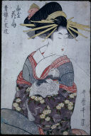 The Courtesan, Hanaogi, Holding a Cat
