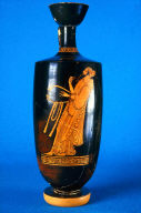 Lekythos (oil bottle) with poet reciting with a lyre