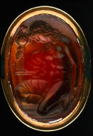 Intaglio with Cassandra kneeling at the image of Athena