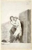 [Yount Woman Holding up her Dying Lover (page 35, recto, of double-sided, Preliminary Study for Caprichos, plate 10 (El Amor y la Muerte), (On verso: Couple Conversing on the Paseo)]
