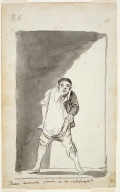 """[Man Pulling Up his Breeches, page 86 (verso) of double-sided drawing from the """"Madrid Sketchbook"""" (Journal-Album B), Inscribed title: """"Buen sacerdote ¿ donde se ha celebrando?"""" (Good priest, where was it celebrated?)]"""
