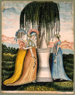 Three Women Standing by a Funerary Monument