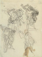 Recto: Four studies of a striding man with outstretched arms [Achilles]; Verso: Study of t
