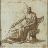 Recto: Study of a man seated in a chair with his legs to the left