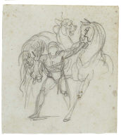 Recto: Study of a man leading three horses [Automedon]; Verso: Study of three men in a sta