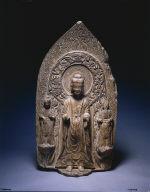 [Stele with Sakyamuni and Bodhisattvas, Shakyamuni Trinity, Buddha Group in Mica Stone, Buddhist Trinity, Votive Stele]