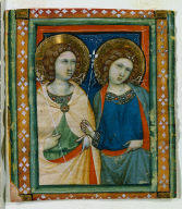 Illumination Excised from a Choir Book: Two Female Saints
