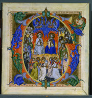 Historiated Initial (G) Excised from a Gradual: Christ and Virgin Enthroned