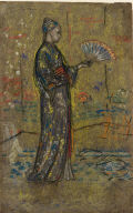[Japanese Woman Painting a Fan, Woman in Japanese Dress, Japanese lady decorating a fan]