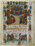 Leaf from an Antiphonary with Historiated Inital (A): Christ in Majesty