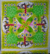 """Plain Silk Cloth, Screen Printed: """"Carrousel"""""""