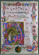 Leaf from an Antiphonary with Historiated Initial (H): The Nativity