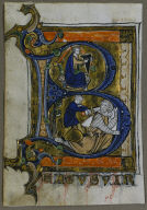 """Leaf from a Psalter: Initial """"B"""" with King David"""