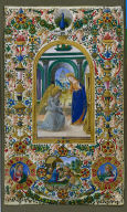 Leaf from a Book of Hours: Annunciation, Nativity and Two Prophets