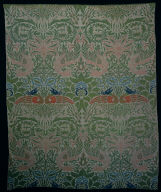 Textile with Peacock and Dragon Design