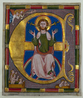 Historiated Initial (E) Excised from a Municipal Law Book: The Last Judgment
