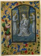 Leaf from a Book of Hours: Madonna and Child Enthroned