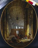 [The Colonnade of St. Peter's, Rome, during the Conclave, L'intérieur de la Colonnade de S. Pierre, dans le temps du Conclave]