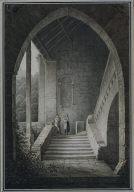 [Outer Staircase of a Gothic Ruin, Treppenaufgang einer gotischen Ruine, View of a Ruin in Meillerie Villaneuve, Switzerland, Ansicht einer Ruine in Meillerie Villaneuve]