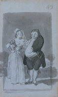 [A Young Woman Making Advances to a Man with a Paunch (recto), Young Woman with Potbellied Man (from Madrid album: B)]