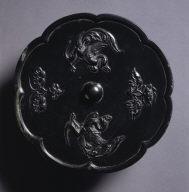 Octagonal Mirror with Phoenix and Lotus Design