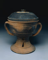 Lidded Cup with strap handles and pierced and banded decoration